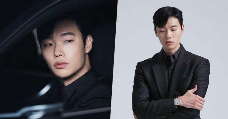 柳俊烈在广告片场的一身黑造型超酷!穿西装真的太帅啦♥