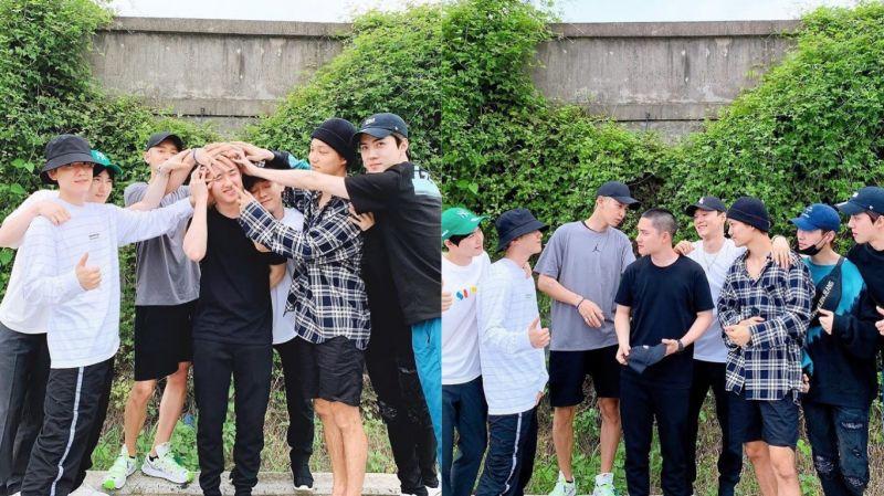 今日(1日)EXO成员送D.O.(都敬秀)入伍!LAY(张艺兴)也到现场