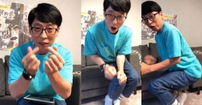 刘在锡直播收到100万颗心心♥ 即兴跳舞庆祝XD