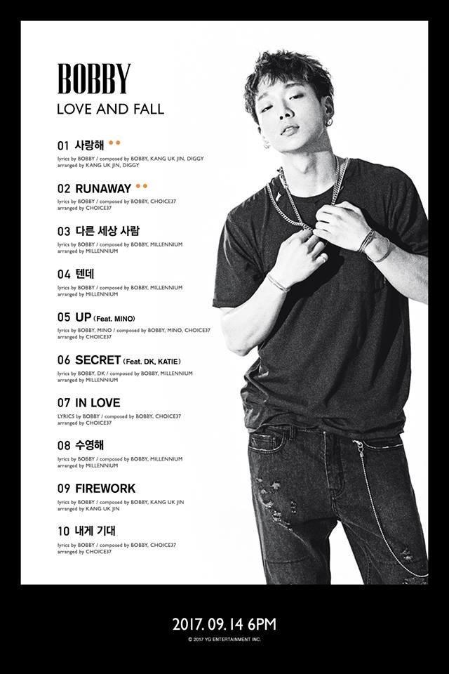 Bobby首张个人专辑《LOVE AND FALL》曲目表公开