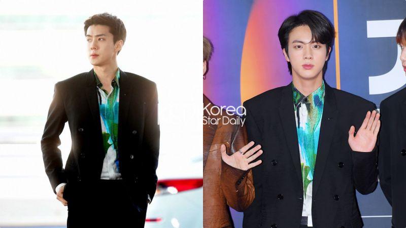 【撞衫不可怕系列】EXO世勋 VS BTS JIN:肩霸遇上肩霸谁都不服输!2人都比男模穿得好看