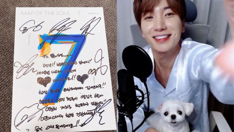 SJ利特从j-hope妈妈那收到防弹少年团签名专辑:「感谢伯母一直这么照顾我,hobi果然是最棒的!」